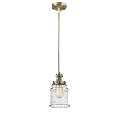 Innovations Lighting Canton Brushed Brass 10-Inch One-Light Mini Pendant with Seedy Bell Glass