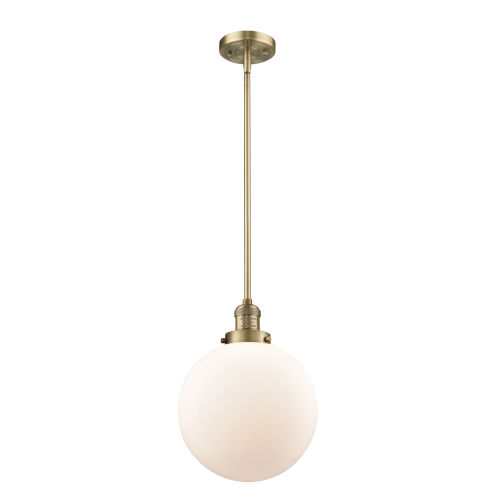 Franklin Restoration Brushed Brass 10-Inch One-Light Pendant with Matte White Glass Shade