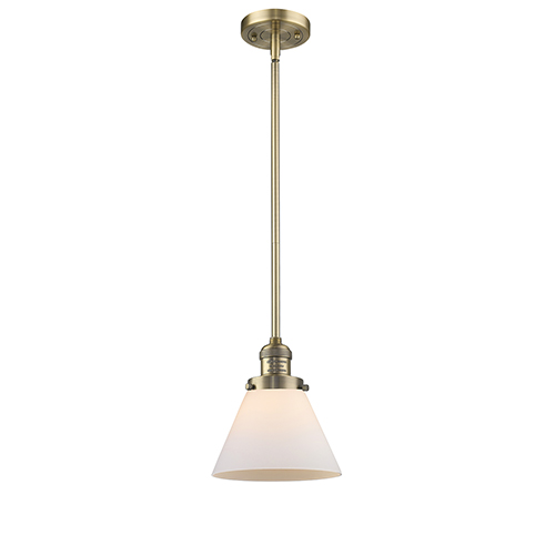 Innovations Lighting Large Cone Brushed Brass 10-Inch LED Mini Pendant with Matte White Cased Cone Glass