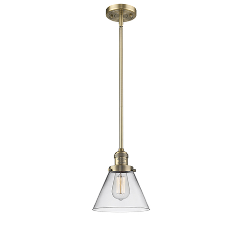Innovations Lighting Large Cone Brushed Brass 10-Inch One-Light Mini Pendant with Clear Cone Glass