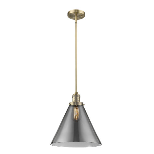 X-Large Cone Brushed Brass LED Hang Straight Swivel Pendant