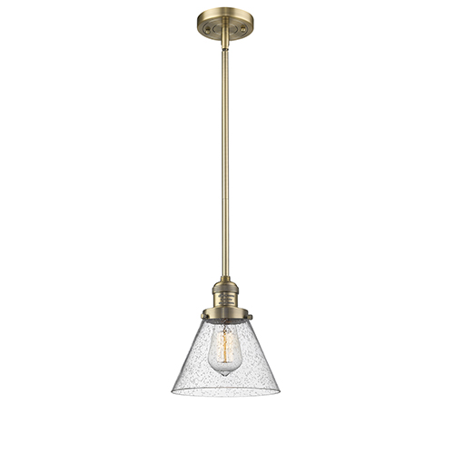 Large Cone Brushed Brass 10-Inch LED Mini Pendant with Seedy Cone Glass