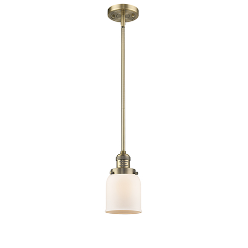 Innovations Lighting Small Bell Brushed Brass 10-Inch LED Mini Pendant with Matte White Cased Bell Glass