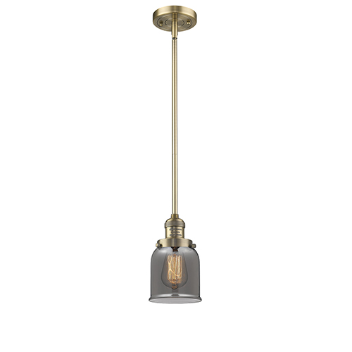 Small Bell Brushed Brass 10-Inch LED Mini Pendant with Smoked Bell Glass