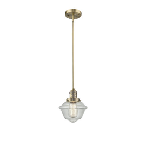 Small Oxford Brushed Brass LED Hang Straight Swivel Mini Pendant with Seedy Glass