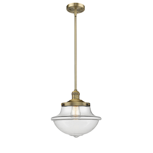 Innovations Lighting Oxford School House Brushed Brass 11-Inch One-Light Pendant with Clear Bell Glass