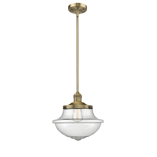 Innovations Lighting Oxford School House Brushed Brass 11-Inch One-Light Pendant with Seedy Bell Glass