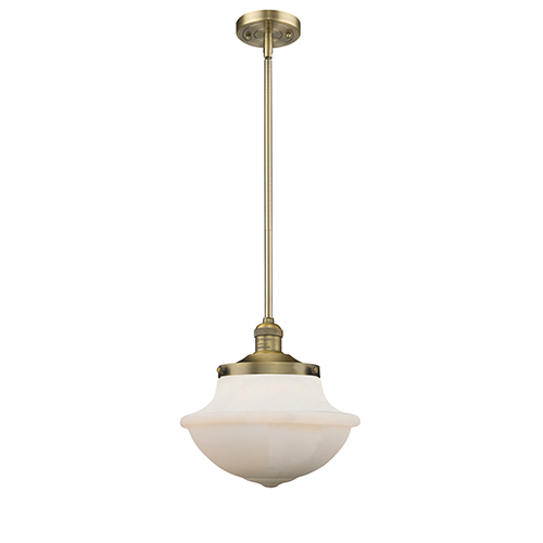 Oxford School House Brushed Brass LED Pendant With White Bell Glass