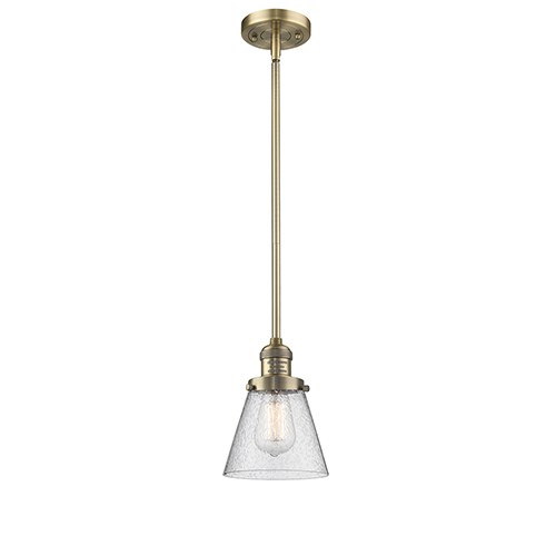 Innovations Lighting Small Cone Brushed Brass Eight-Inch LED Mini Pendant with Seedy Cone Glass