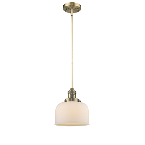 Large Bell Brushed Brass 10-Inch LED Mini Pendant with Matte White Cased Dome Glass