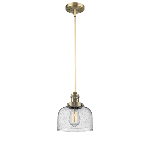 Large Bell Brushed Brass 10-Inch LED Mini Pendant with Seedy Dome Glass