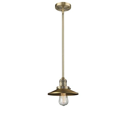 Railroad Brushed Brass Eight-Inch One-Light Mini Pendant