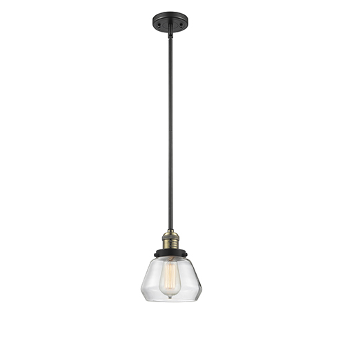 Innovations Lighting Fulton Black Brushed Brass Nine-Inch One-Light Mini Pendant with Clear Sphere Glass