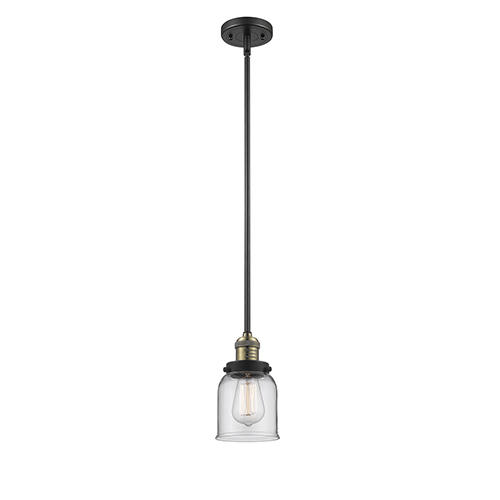 Innovations Lighting Small Bell Black Brushed Brass 10-Inch LED Mini Pendant with Clear Bell Glass