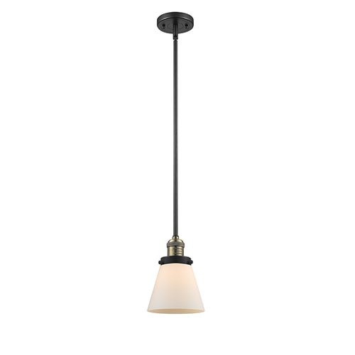 Innovations Lighting Small Cone Black Brushed Brass Eight-Inch LED Mini Pendant with Matte White Cased Cone Glass