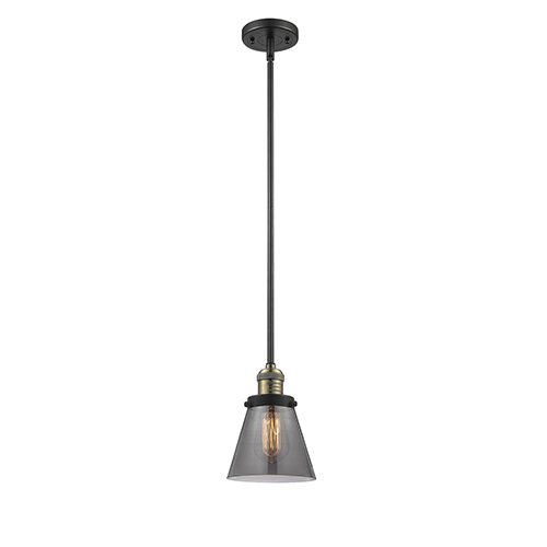 Innovations Lighting Small Cone Black Brushed Brass Eight-Inch One-Light Mini Pendant with Smoked Cone Glass