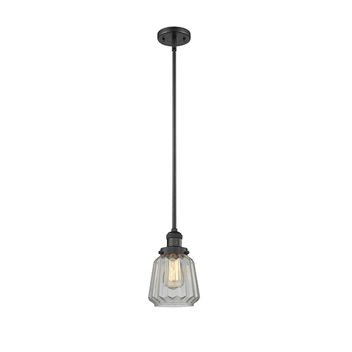 Innovations Lighting Chatham Black Six-Inch One-Light Mini Pendant with Clear Fluted Novelty Glass