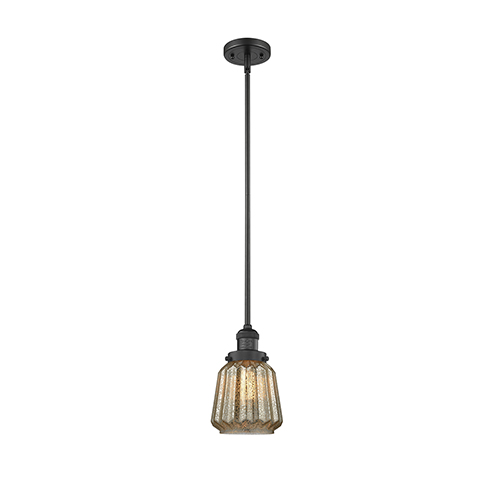 Innovations Lighting Chatham Black Six-Inch LED Mini Pendant with Mercury Fluted Novelty Glass