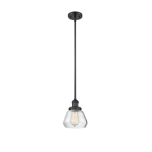 Innovations Lighting Fulton Black Seven-Inch One-Light Mini Pendant with Clear Sphere Glass