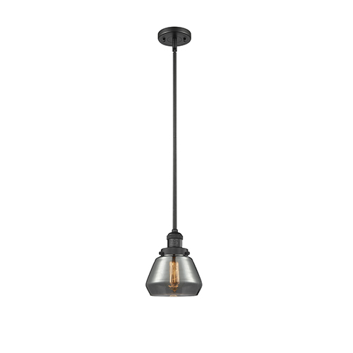 Innovations Lighting Fulton Black Seven-Inch LED Mini Pendant with Smoked Sphere Glass