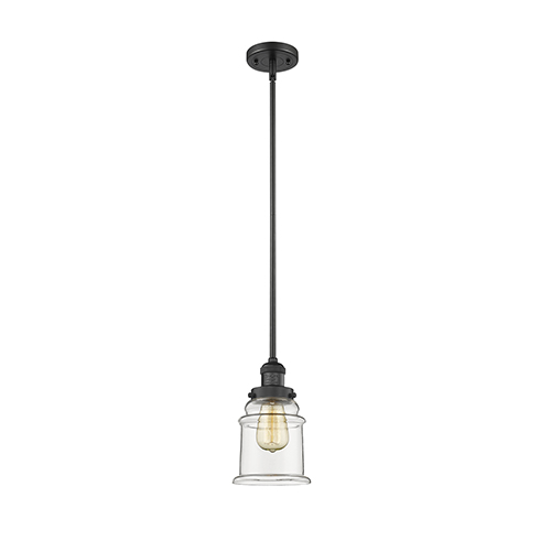 Innovations Lighting Canton Black Seven-Inch One-Light Mini Pendant with Clear Bell Glass
