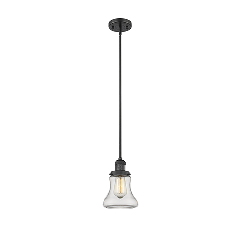 Bellmont Black 10-Inch One-Light Mini Pendant with Clear Hourglass Glass