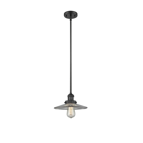 Innovations Lighting Halophane Black Nine-Inch LED Mini Pendant with Halophane Cone Glass