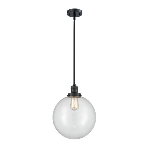 Franklin Restoration Matte Black 12-Inch One-Light Pendant with Clear Beacon Shade