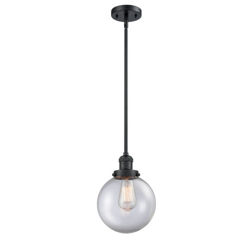 Franklin Restoration Matte Black Eight-Inch One-Light Mini Pendant with Clear Glass Shade