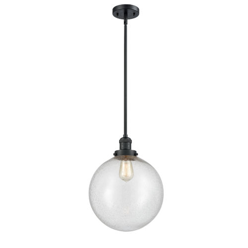 Franklin Restoration Matte Black 12-Inch One-Light Pendant with Seedy Beacon Shade
