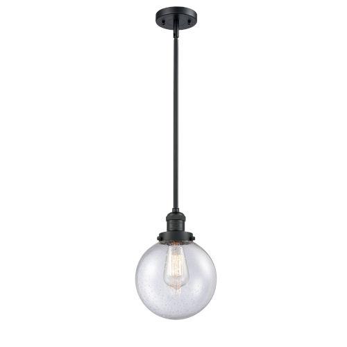 Franklin Restoration Matte Black Eight-Inch One-Light Mini Pendant with Seedy Glass Shade
