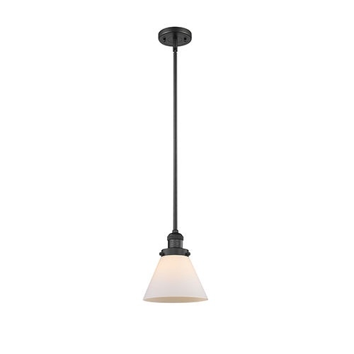 Large Cone Black Eight-Inch One-Light Mini Pendant with Matte White Cased Cone Glass