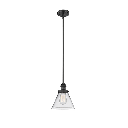 Innovations Lighting Large Cone Black Eight-Inch One-Light Mini Pendant with Clear Cone Glass