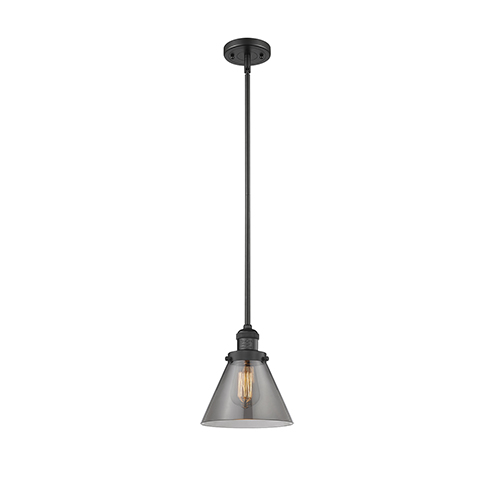 Innovations Lighting Large Cone Black Eight-Inch LED Mini Pendant with Smoked Cone Glass