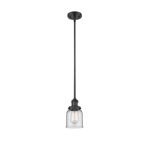 Small Bell Black Five-Inch One-Light Mini Pendant with Clear Bell Glass