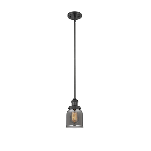 Innovations Lighting Small Bell Black Five-Inch LED Mini Pendant with Smoked Bell Glass