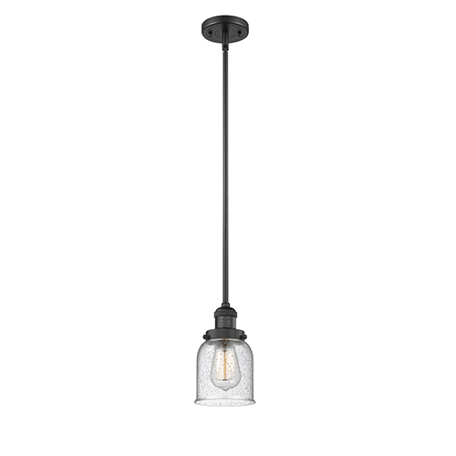 Small Bell Black Five-Inch One-Light Mini Pendant with Seedy Bell Glass