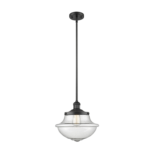 Innovations Lighting Oxford School House Black 11-Inch One-Light Pendant with Seedy Bell Glass