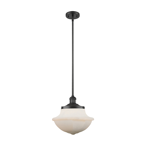 Oxford School House Black 12-Inch One-Light Pendant with White Bell Glass