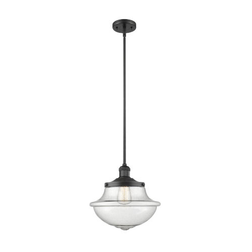 Franklin Restoration Matte Black 12-Inch One-Light Pendant with Seedy Large Oxford Shade