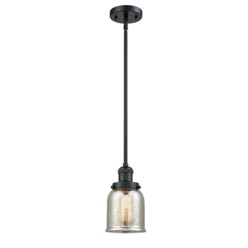 Franklin Restoration Matte Black Five-Inch LED Mini Pendant with Silver Plated Mercury Glass Shade