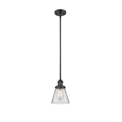 Innovations Lighting Small Cone Black Six-Inch LED Mini Pendant with Clear Cone Glass