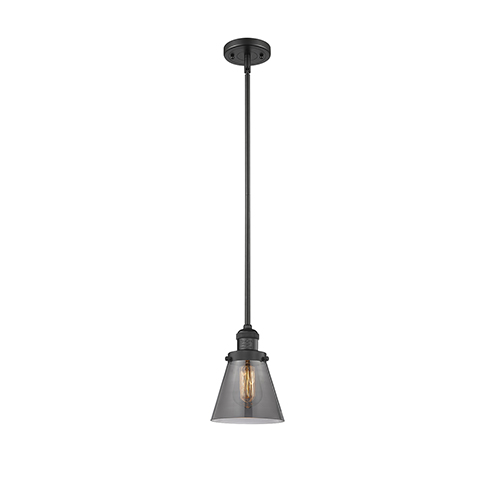Innovations Lighting Small Cone Black Six-Inch One-Light Mini Pendant with Smoked Cone Glass