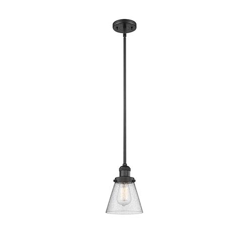 Small Cone Black Six-Inch One-Light Mini Pendant with Seedy Cone Glass