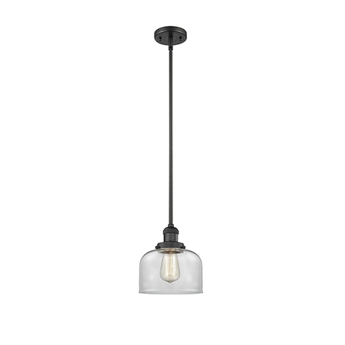 Large Bell Black Eight-Inch One-Light Mini Pendant with Clear Dome Glass