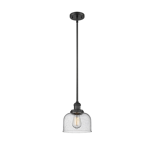 Innovations Lighting Large Bell Black 10-Inch LED Mini Pendant with Seedy Dome Glass