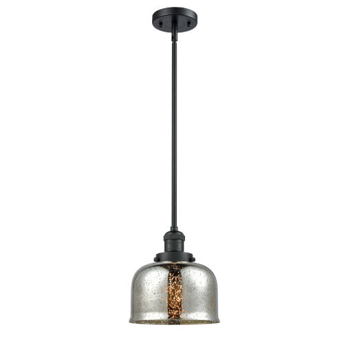 Large Bell Matte Black One-Light Hang Straight Swivel Mini Pendant with Silver Plated Mercury Glass