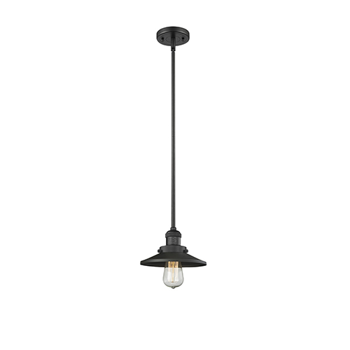 Innovations Lighting Railroad Black Eight-Inch One-Light Mini Pendant with Matte Black Metal Shade