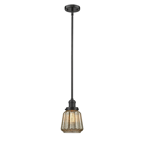 Innovations Lighting Chatham Oiled Rubbed Bronze Eight-Inch One-Light Mini Pendant with Mercury Fluted Novelty Glass