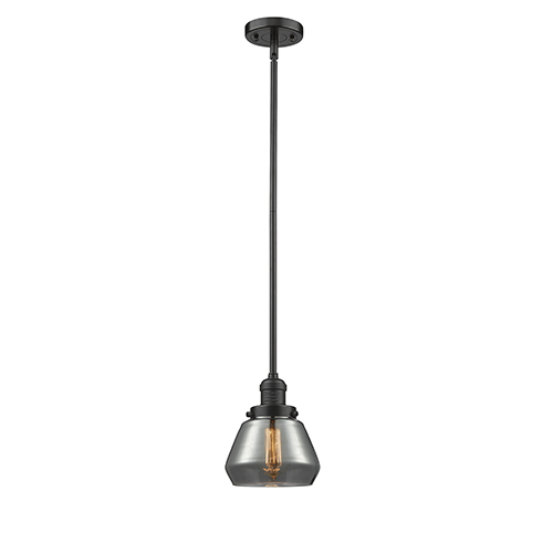 Innovations Lighting Fulton Oiled Rubbed Bronze Nine-Inch One-Light Mini Pendant with Smoked Sphere Glass